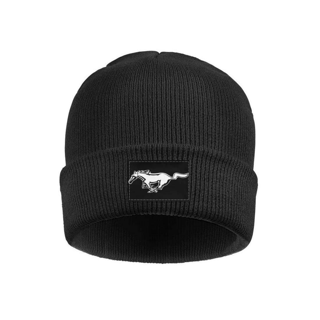 Mens Ford-Mustang-Logo Wool Beanie Cap Knit Caps Fine Knit Beanie HatsStretchy /& Soft