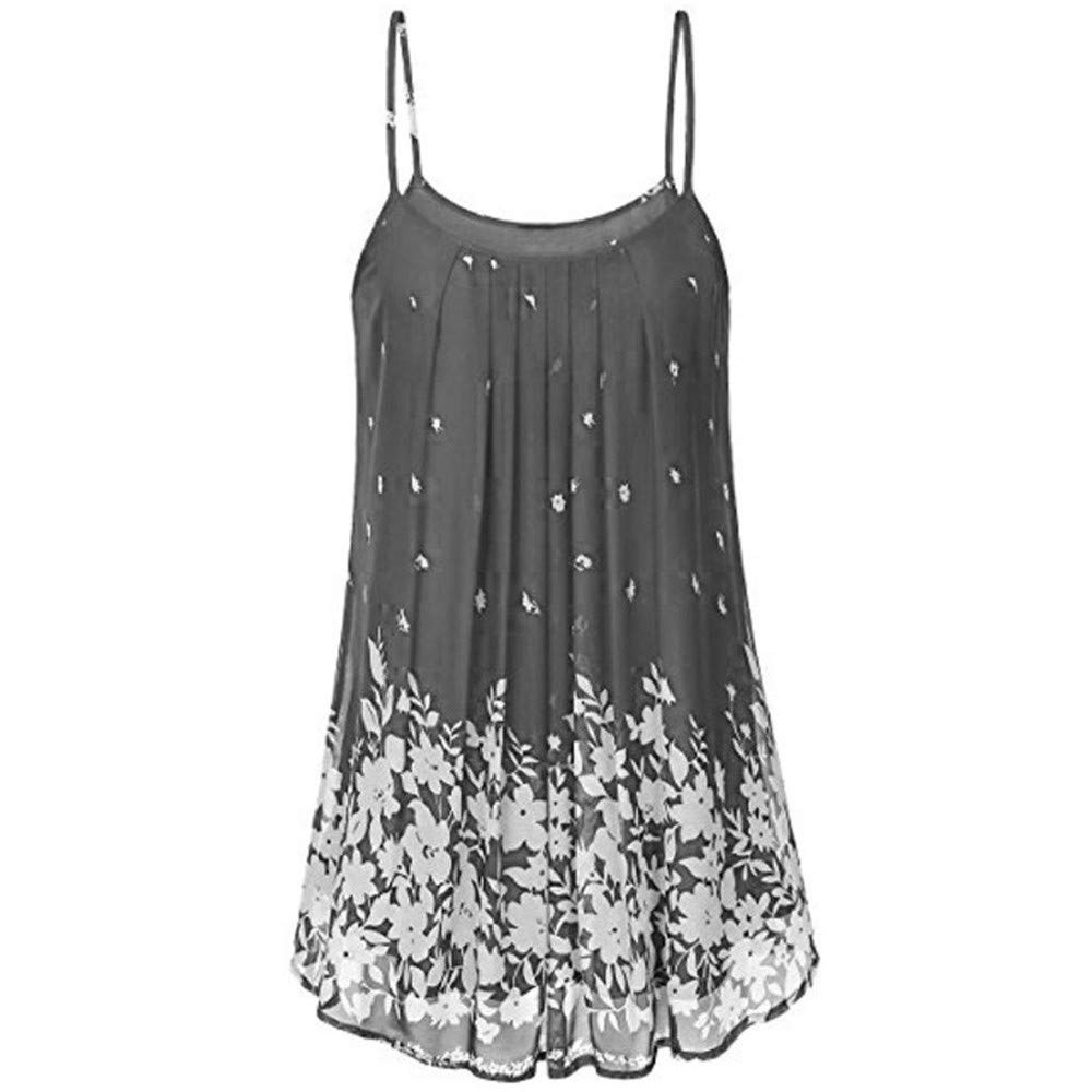 BAOHOKE Womens Loose Printed Pleated Camisole Dress,Sling Summer Casual Dresses