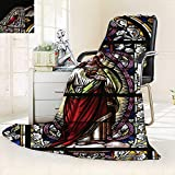 vanfan All-Season Super Soft Blanket Jesus Pictures Catholic Gifts Believe Art Christian Church Cathedral Window View Silky,Silky Soft,Anti-Static,2 Ply Thick Blanket. (90''x108'')