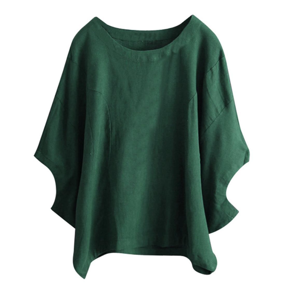 EnjoCho Women's Spring Summer Solid Print Short Sleeve Irregular Hem Asymmetrical Tunic Loose Long Blouse Tops (Size:XL, Green)
