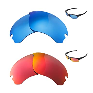 1cf445dbbb Image Unavailable. Image not available for. Color  Walleva Polarized Fire  Red + Ice Blue Replacement Lenses For Oakley Flak Draft Sunglasses