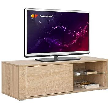 Comifort TV80 TV-Möbel, Modernes Wohnzimmer-Tisch, Farben: Weiß,  Eichenholz, Weiß/Eiche, 100 x 36 x 32 cm
