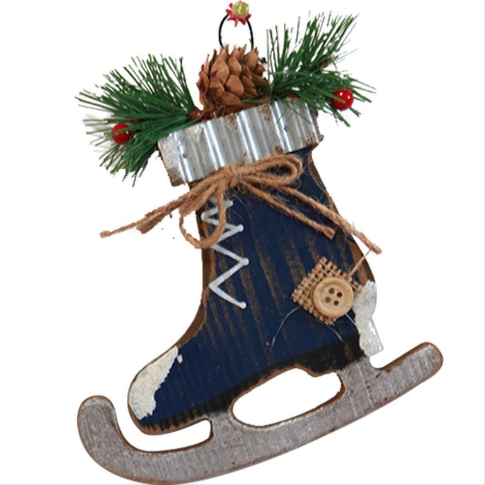 Navidad Hecho A Mano AmericanoDIYAnciano Muñeco De Nieve Escritorio Mini Árbol De Navidad Guirnalda Ornamento Colgante15 * 14 CmMaya Azul Zapatos Madera Colgante/ 83G