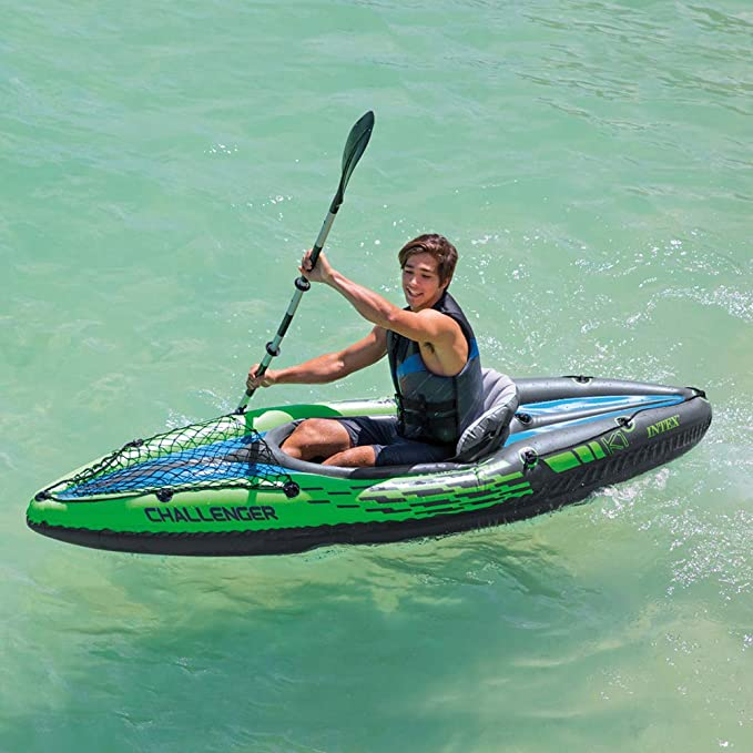 Intex Challenger Kayak Man Inflatable Canoe With Aluminum Oars And Hand Pump Uk