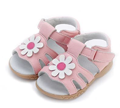 f11c936820ca Mobnau Cute Flower Leather Toddler Sandals for Girls Sandles Pink 20 5 M US  Toddler