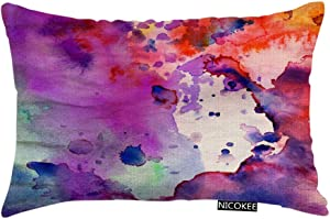 Nicokee Throw Pillow Cover Watercolor Pastel Abstract Grunge with Paint Splatter Orange Stoke Decorative Pillow Case Home Decor 20x12 Inches Pillowcase