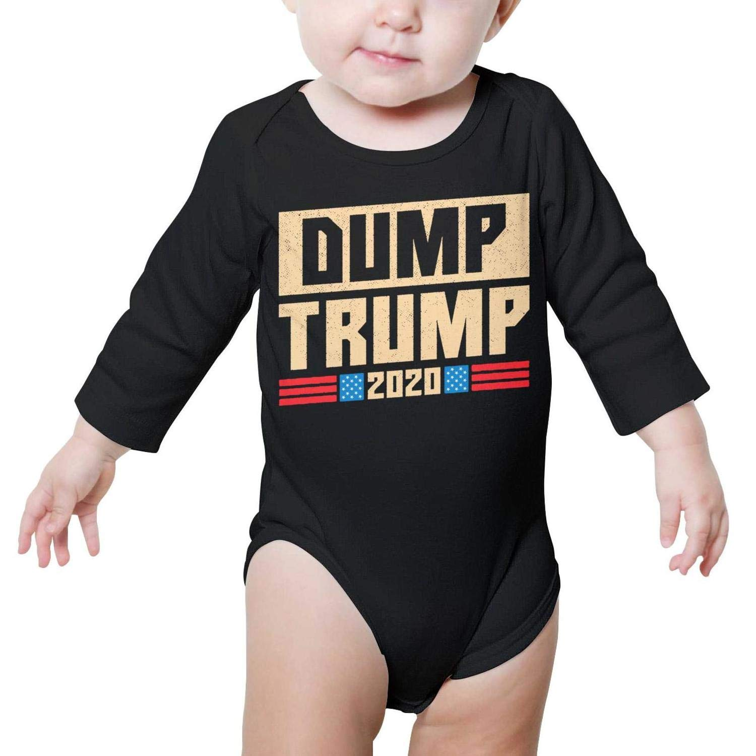 PoPBelle Dump Trump 2020 Funny Retro Baby Onesie Clothing Long Sleeve Natural Organic Cotton Unisex