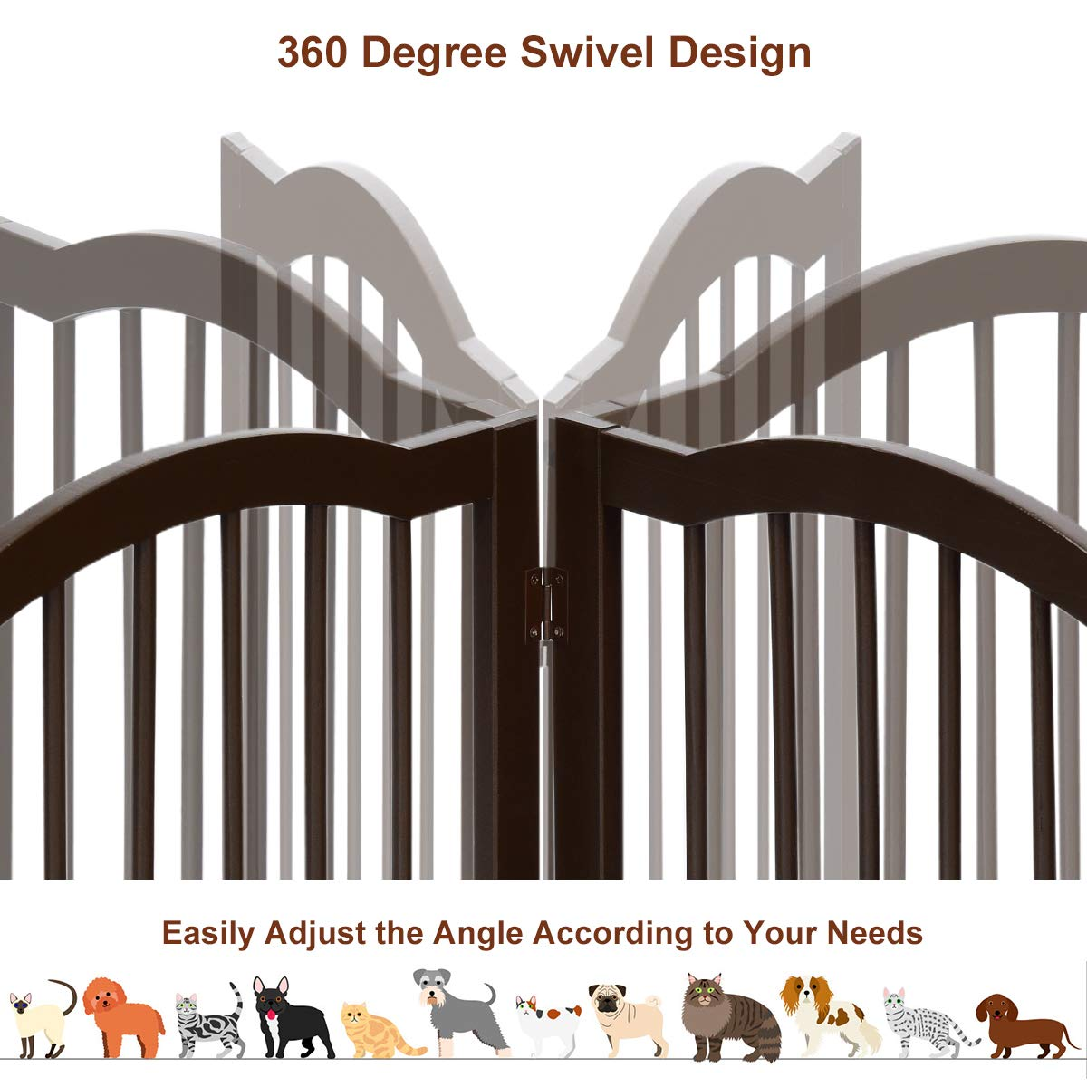 Giantex Wooden Pet Gate, Freestanding Dog Gates for House Doorway Stairs, Foldable Tall Panels for Large Pets, Indoor Pet Puppy Safety Fence with Arched Top, Fully Assembled 20 Wx36 H, 3 Panels