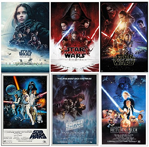 Star Wars Posters Set  Episodes 4,5,6,7,8 and Rogue One, siz
