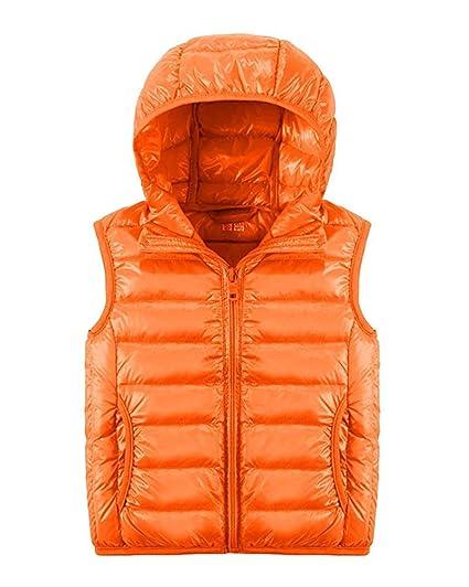 fd4b3220b2e FuweiEncore Little Kids Boys Girls Gilet Body Warmers Coat Down Vest  Waistcoat Sleeveless Hooded Jacket (Color : Orange, Size : 150): Amazon.co. uk: Kitchen ...