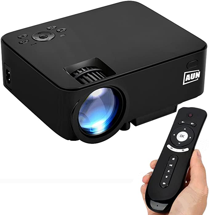 AUN 2 in 1 Android Proyector + TV Box 1500 Lúmenes LED Proyector con WiFi Bluetooth Apoyo DLNA Airplay AC3 Para cine en casa Entretenimiento, Con Air Mouse, Negro: Amazon.es: Informática