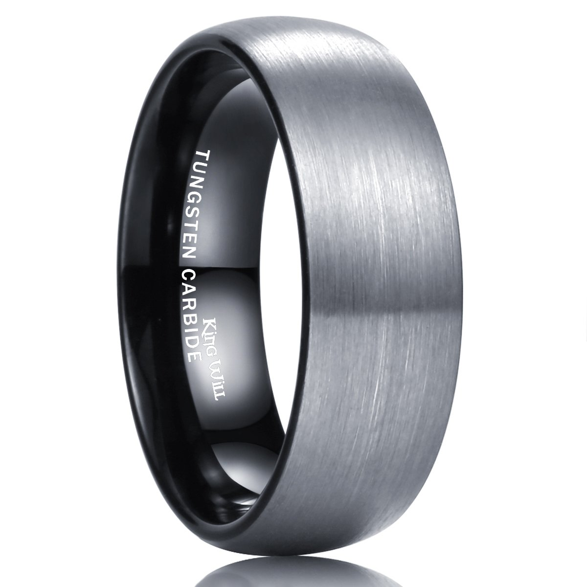 King Will DUO 8mm Black Dome Tungsten Carbide Wedding Band Ring Enamel Polished Finish Comfort Fit R157
