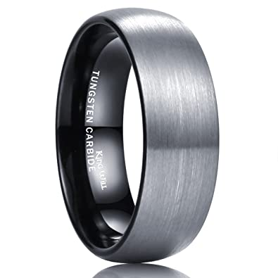 King Will BASIC 8mm Tungsten Carbide Wedding Band Ring For Men With Black Plated Enamel Domed