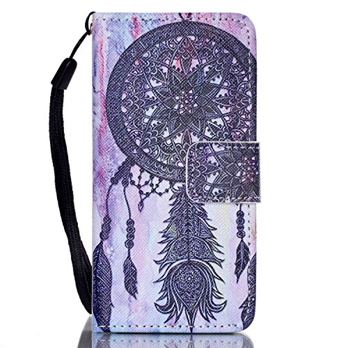 Funda para Apple iPod Touch 5 / 6, iPod Touch 5G Flip Funda de cuero PU Carcasa, iPod Touch 6G billetera Funda Protectora Carcasa, iPod Touch 5 / 6 Leather Wallet Case Cover Skin Shell Carcasa Funda,  Campanula negro