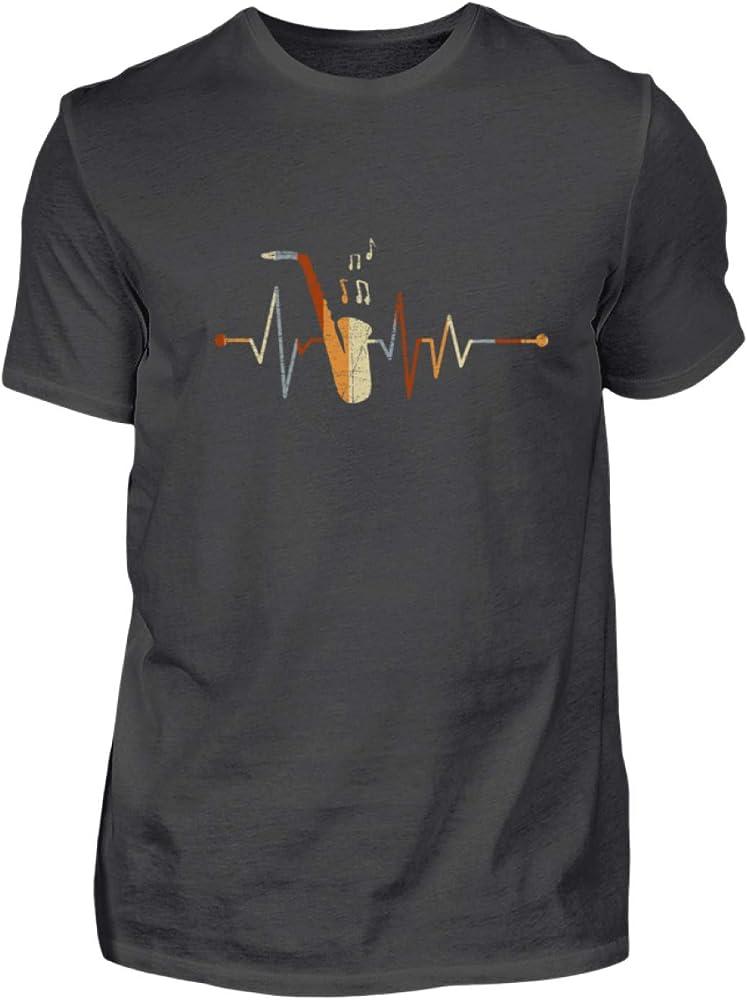 Shirtee Saxofón Saxofonista Instrumento Musical Músico Jazz Latido del Corazón - Camiseta de Hombre -XXL-Grafito (sólido): Amazon.es: Ropa y accesorios