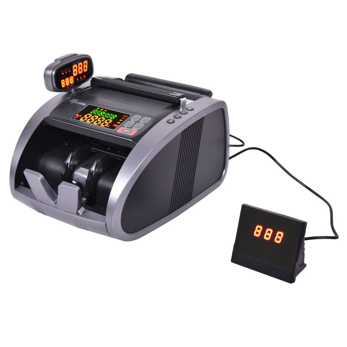 Safstar Automatic Cash Money Counter Worldwide Currency Cash Counting Machine Bill Counterfeit Detector UV IR MG with Color LED Rotating Display