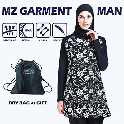 Women Muslim Swimwear Full Coverage Islamic Modest Swimsuit 3 Pieces Full Body with Hijab Sun Protection (MS06, L) by MZ Garment (Image #1)