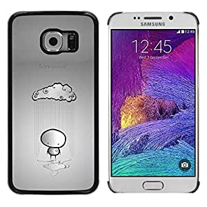 Paccase / Dura PC Caso Funda Carcasa de Protección para - Cloud Rain Stickman Sad Lonely Grey Heartbrake - Samsung Galaxy S6 EDGE SM-G925