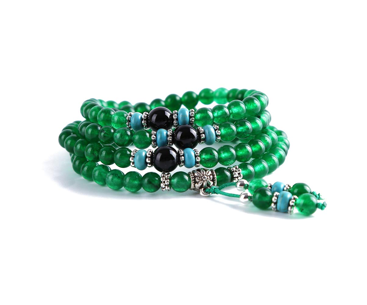 Attract Wealth and Good Luck Wenmily Feng Shui Chrysoprase 3-Raw Wrap Around Gourd Bracelet//Necklace Deluxe Gift Box Included