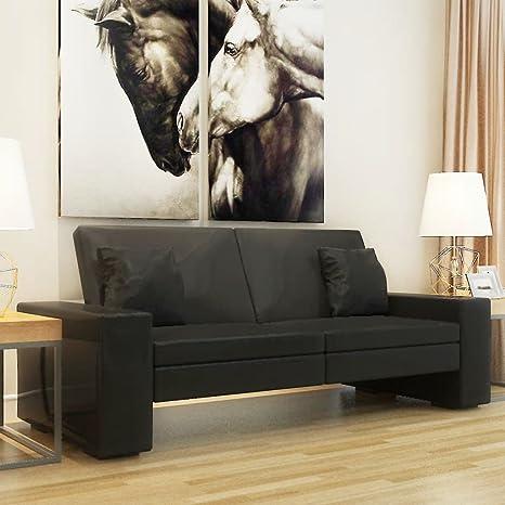tiauant Mobiliario Sofás Sofa Cama de Cuero Artificial Negro ...