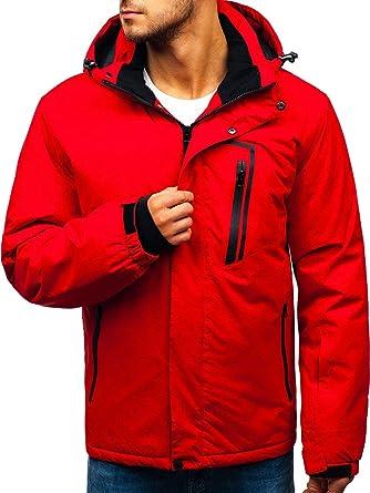 BOLF Herren Winterjacke mit Kapuze Druckknöpfen Skijacke RED Fireball  HZ8107 Rot L  4D4  f803b23b6f