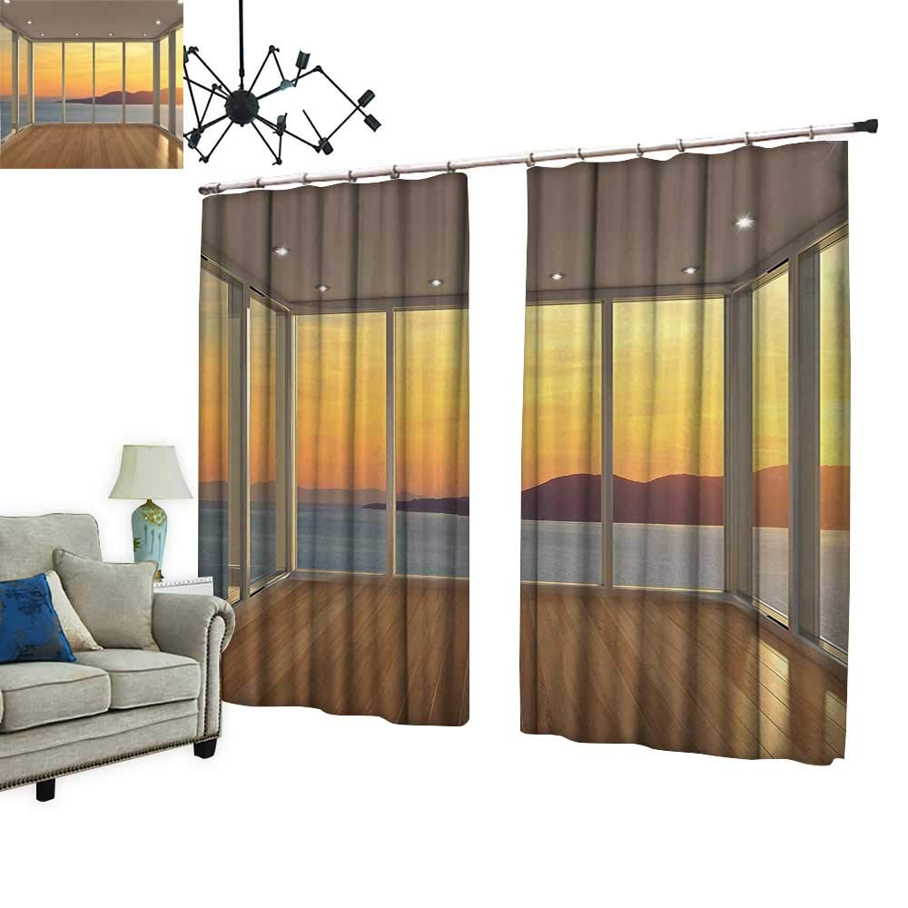 PRUNUS Colorful Waterproof Curtain with hookDesign Empty House with Mountain Ocean Scenery Marigold White Blue and Light Brown Very Good Touch,W72 xL72