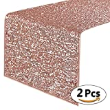 PONY DANCE Decoration Sparkling Table Runner Sequin Fabric Table Runner Premium Quality Christmas/Party/Wedding/Birthday/Banquet Decor Atmosphere, 14'' x 108'', Champagne Blush, Pack-2