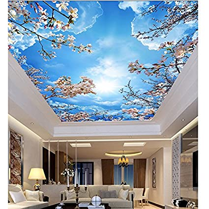 Leegt Habitación De Hotel 3D Techo Cielo De Techo El Cielo Azul Con Nubes Blancas Sakura