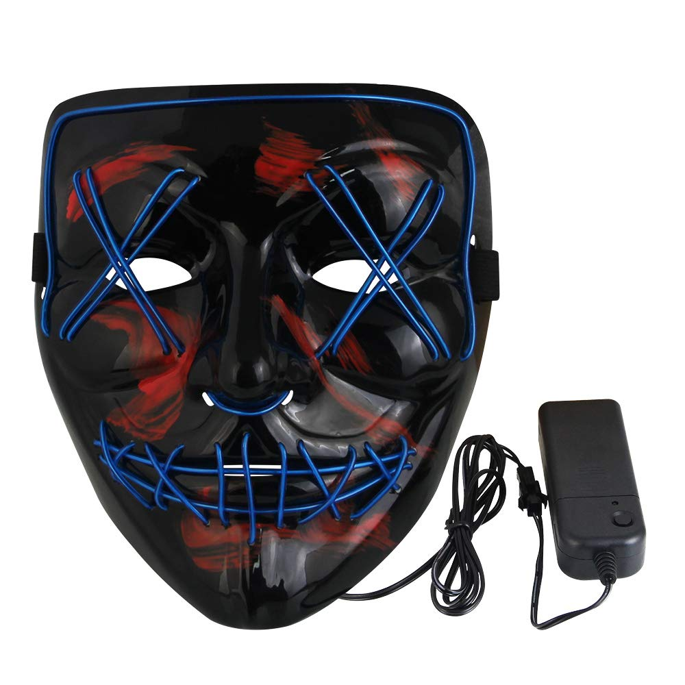 Kbnian Halloween Mask PVC Scary Grin Masks LED Flash Cosplay Costume-Black