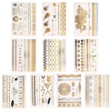 Novias Shimmer Design Metallic Temporary Tattoos Flash Tattoos Henna Fake Jewelry Tattoos(10 Sheets)