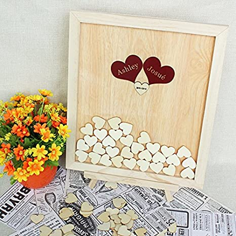 Amazoncom Tamengi Wedding Guest Book Wooden Hearts Personalized