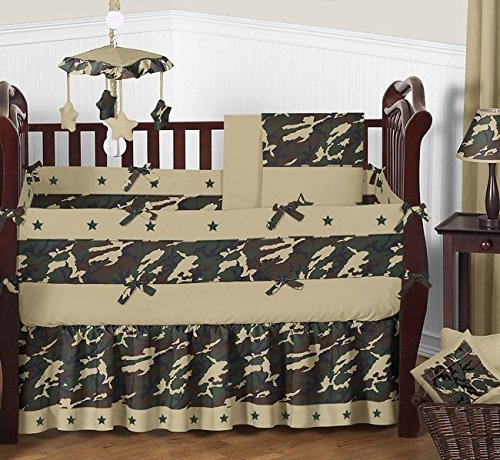 Sweet Jojo Designs Baby and Kids Clothes Laundry Hamper - Green Camo Army Military Camouflage
