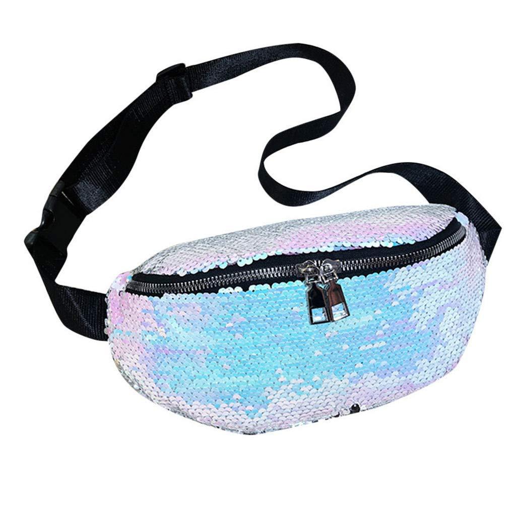 Fashion Women Outdoor Zipper Sequin Messenger Bag Sports Chest Bag Waist Bag