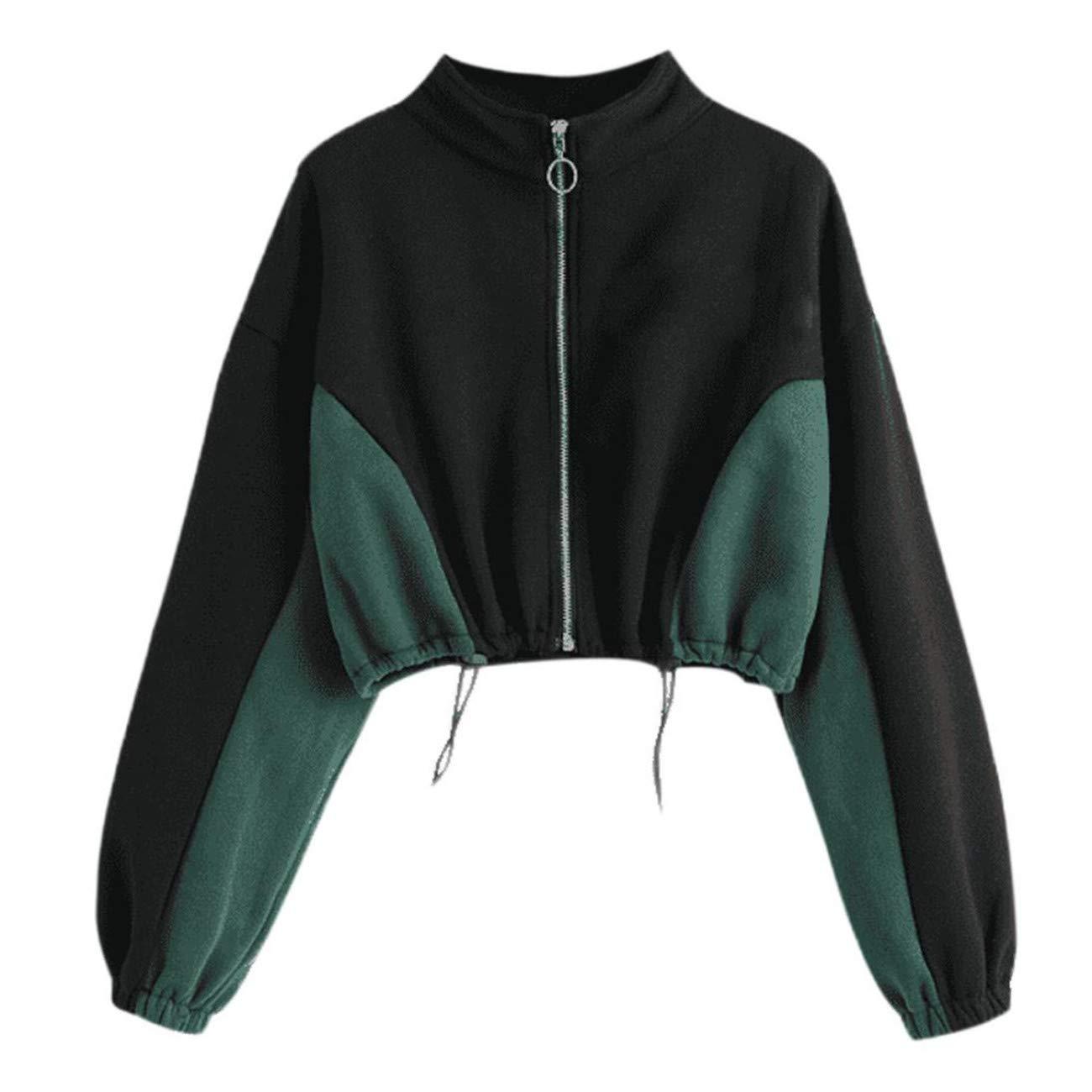 LHWY-Donna Outwear Autunno Inverno Solido Slim Fit Elegante Girocollo Cerniera Felpa Manica Lunga