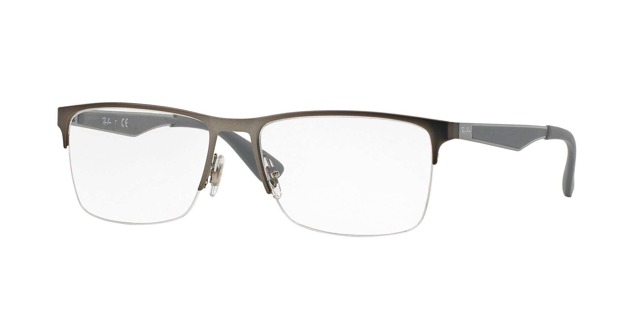 Ray-Ban RX6335 Rectangular Metal Eyeglass Frames, Matte Gunmetal/Demo Lens, 56 mm by Ray-Ban