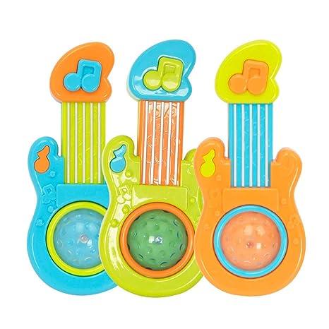 YeahiBaby Simulación Guitarra Instrumento Musical con Luces Guitarra eléctrica Juguetes educativos tempranos Sin batería (Color