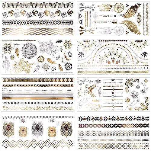 Metallic Temporary Tattoos, 8 Large Sheets Gold Silver Glitter Mandala Mehndi Boho Temporary Fake Waterproof Tattoos Stickers for Adults or Kids