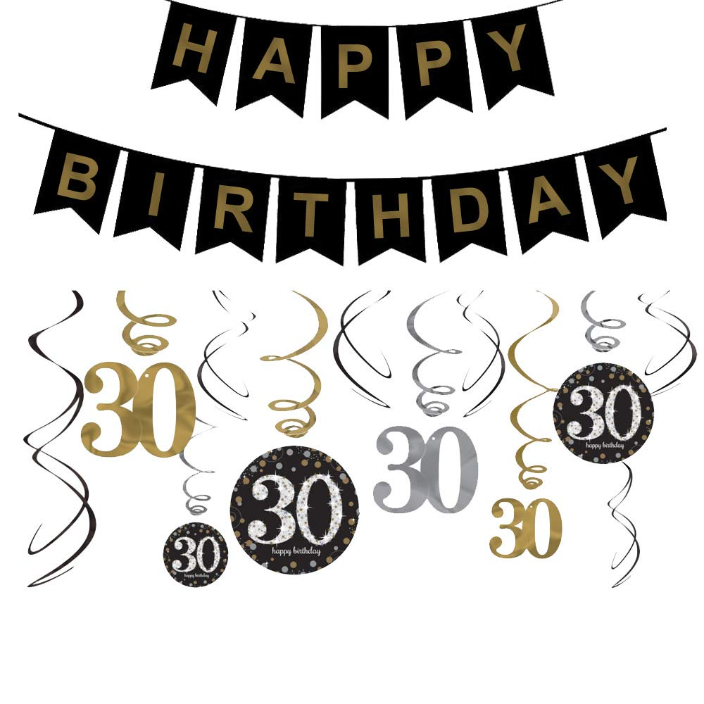 30th Birthday Decorations Gifts for Her Him(Men Women) - Dirty 30 Birthday Party Supplies - Happy F*ing Birthday Banner and Hanging Swirls by Brillex (Image #1)