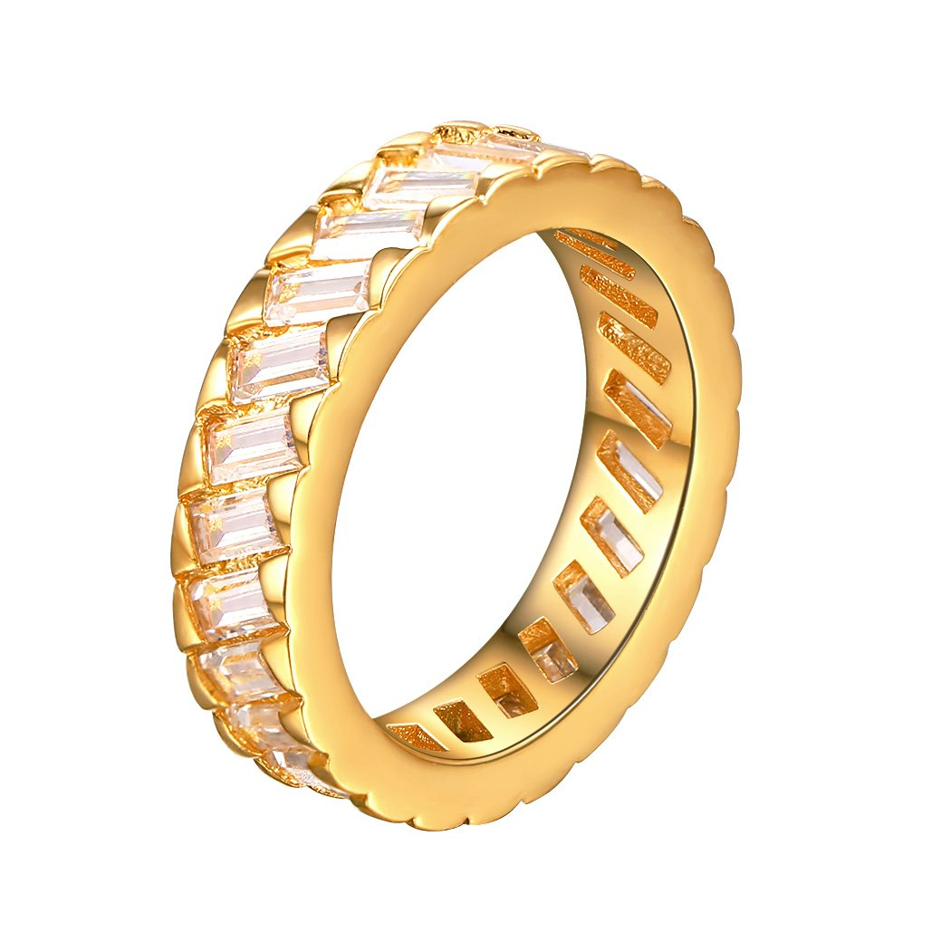 Eternity Ring AAA+ Cubic Zirconia Ring Wedding Channel Setting Ring Ring For Women Gold Plated, Size 11