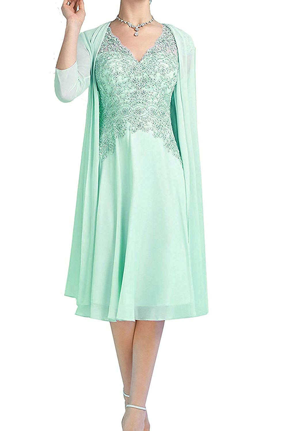 Mint ZLQQ Pink Aline Short Dress V Neck with 3 4 Sleeves Jacket for Mother of The Bride