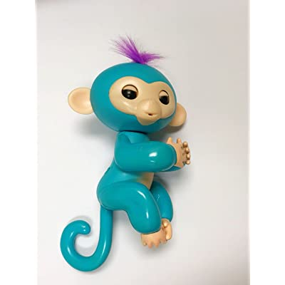 Finger Baby Monkey collect and have fun with them - Finger Interactive Electronic Pet Toy - Happy Monkey - (Turquoise): Toys & Games