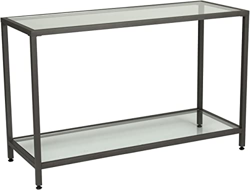 Offex Camber Collection Rectangle Clear Glass Console Table – Pewter