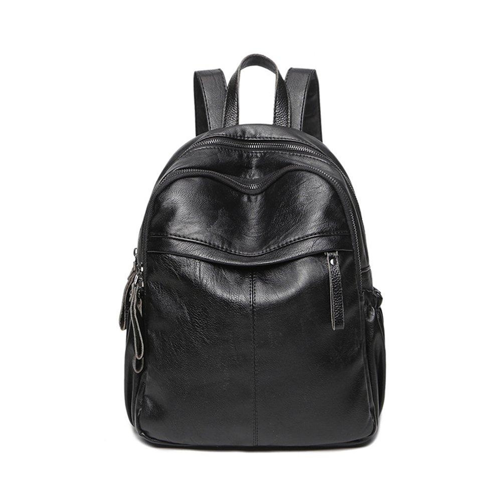ShiningLove Women Casual PU Travel Backpack Solid Color Casual Girls Shoulders Bag Schoolbag Daypacks Black