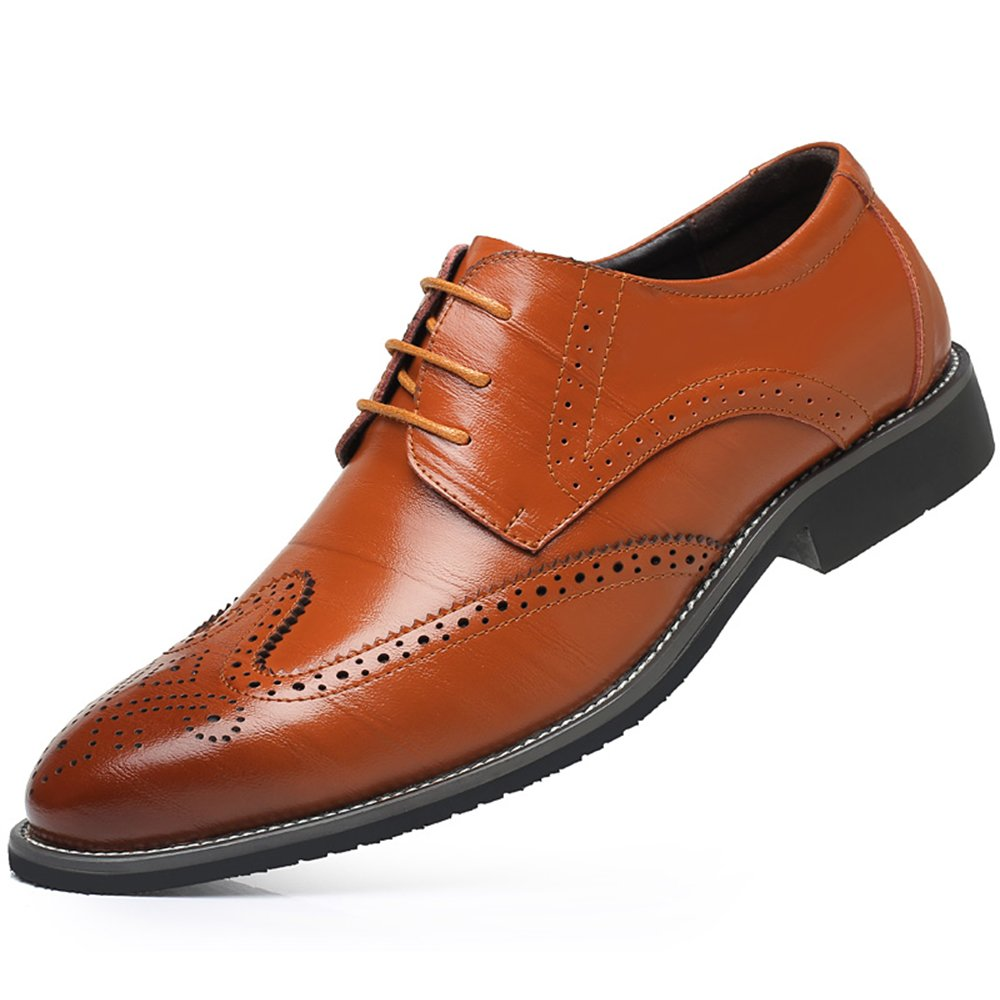 WEEN CHARM Men's Leather Dress Oxford Shoes Brogue Wing-Tip Lace up Modern Business Shoes