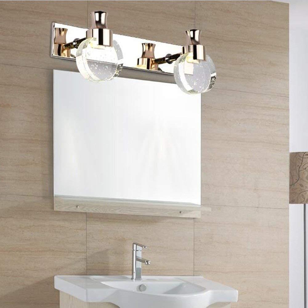 WSR Inicio Baño Espejo Faros Moderno Simple Led Led Led Cristal Espejo Luz Delantera Impermeable Niebla Cuarto de baño Cuarto de baño Lámpara de Pa rojo  Maquillaje Espejo Luces Bombilla incluida, Espejo Faro,L 0c2d93