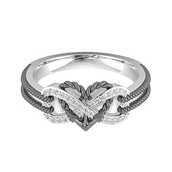 Momangel Fashion Heart Black Plating Rhinestone Rings Finger Ring for Women  Girls size US 7  Amazon.co.uk  Kitchen   Home 5f431546d9e0