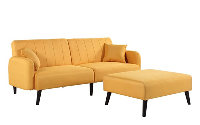 Excellent Mid Century Modern Linen Fabric Futon Sofa Bed Living Room Sleeper Couch Yellow Short Links Chair Design For Home Short Linksinfo