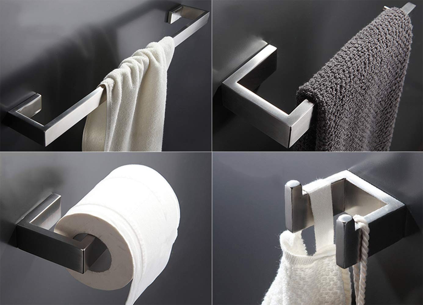 Towel Bar Set, 4Pcs Bathroom Hardware Accessory Set Brushed Nickel, Stainless Steel Bath Hardware Set, Towel Rod with Toilet Paper Holder, Towel Bar and Double Robe Hook. by May & Z