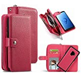 HYSJY S9 Wallet Case, PU Leather Detachable Magnetic Zipper Purse for Women With Slim Shockproof Cover Shell Card Holder Slots Coin Pocket Fit Samsung GalaxyS9 (Zip -Rose, galaxy S9)