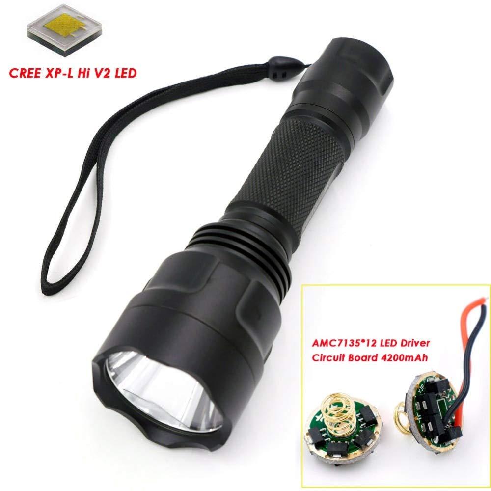 6.500 K, Schwarz: C8 CREE XP-L HI V2 Single Mode 12 x 7135 LED Driver Circuit Board 4200 mAh High Power Strong Light LED-Taschenlampe (1  18650)